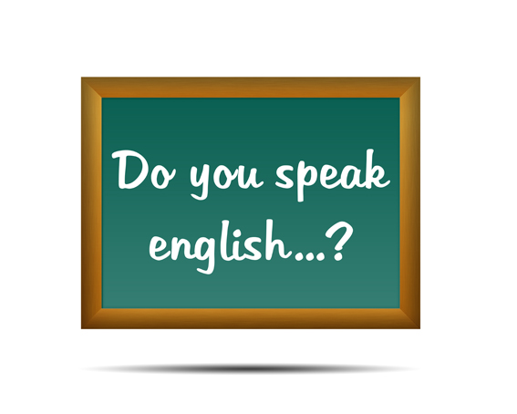 "pizarra con leyenda ""do you speak english"""
